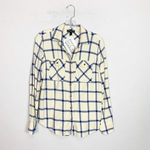 J. Crew | plaid button up flannel cream & blue 4